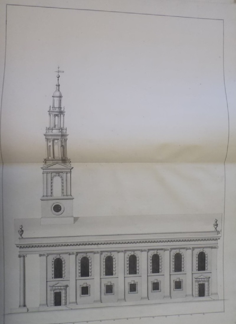 Design of the upright of the south side of an alternate draught for the church of St Martin-in-the-Fields