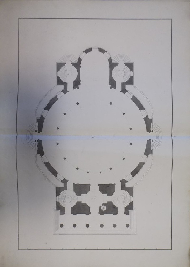 Design of the plan of the 'first Draught of a Round Church' for St Martin-in-the-Fields
