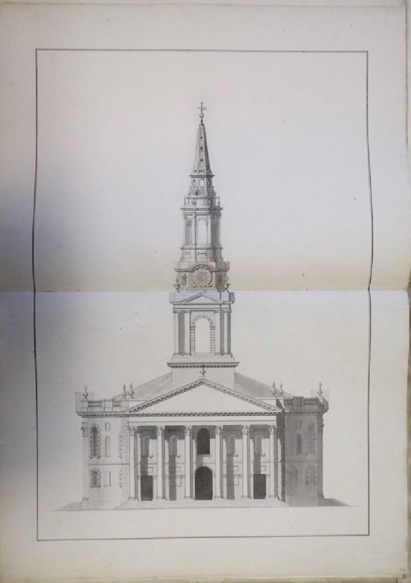 Design of the upright of the 'first Draught of a Round Church' for St Martin-in-the-Fields