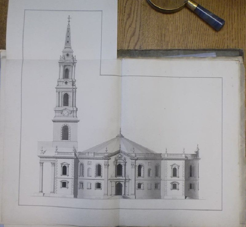 Design of the upright of the south side of the 'first Draught of a Round Church' for St Martin-in-the-Fields (WA1925.348.4, record shot)