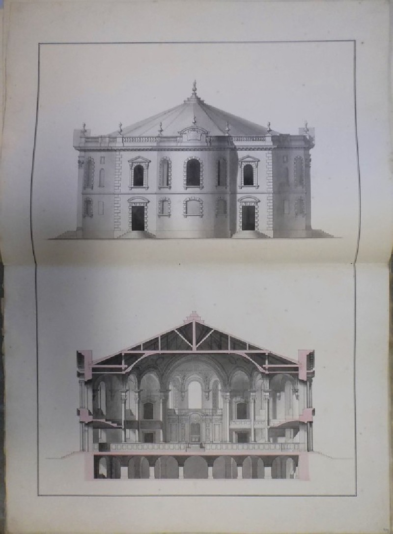 Design of the upright of the east end and the cross section of the 'first Draught of a Round Church' for St Martin-in-the-Fields