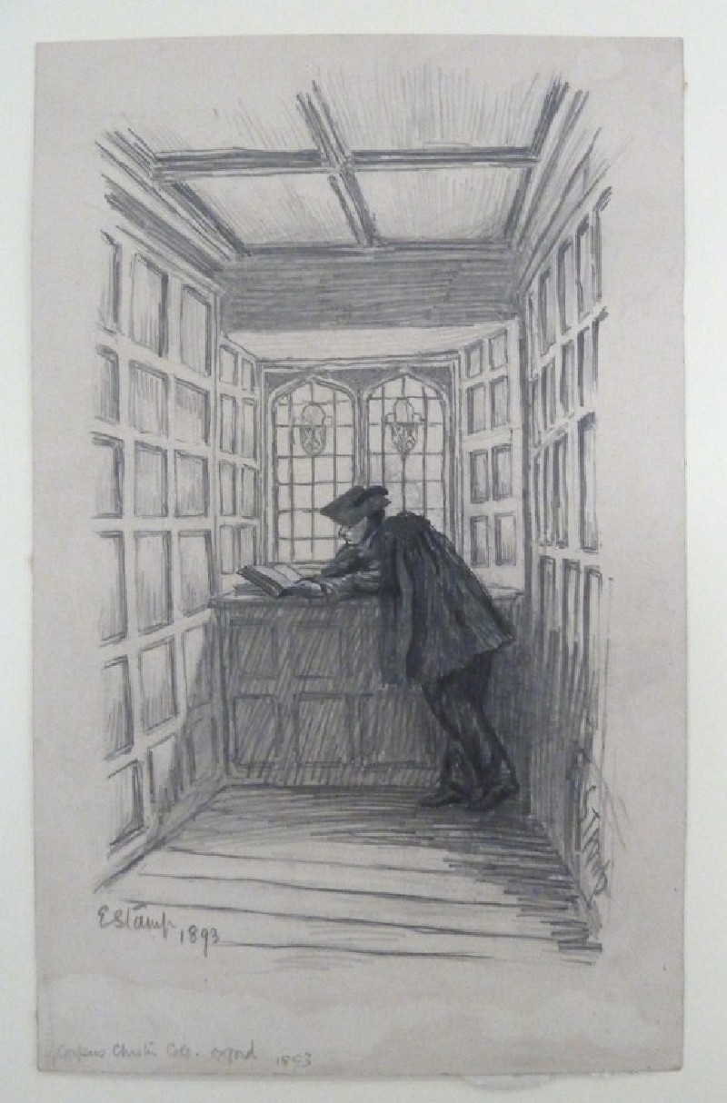 Student reading in Staircase, Corpus Christi, Oxford