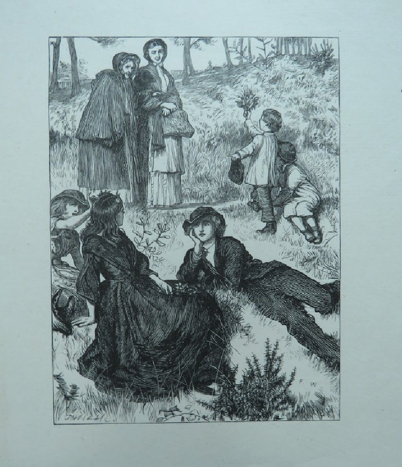 Illustration: a country scene in summer, with women and children and a pair of young lovers