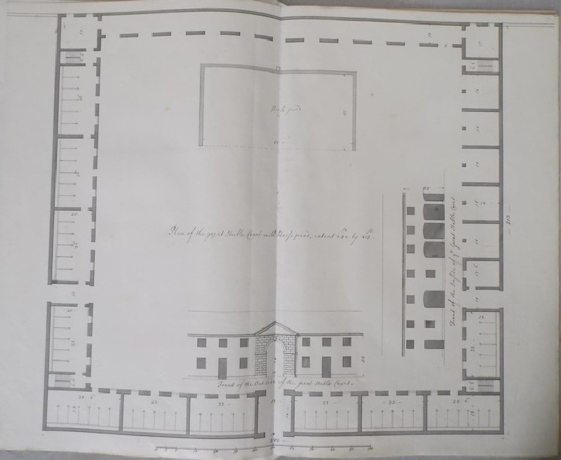 Plan of the great stable Court and fronts of the inside and outside of the same building (Kiveton House) (WA1953.32.13, record shot)