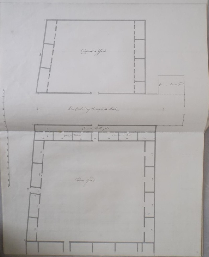 Plan of the carpenter yard, common horse pond, new coach way through the park, common stables and farm yard