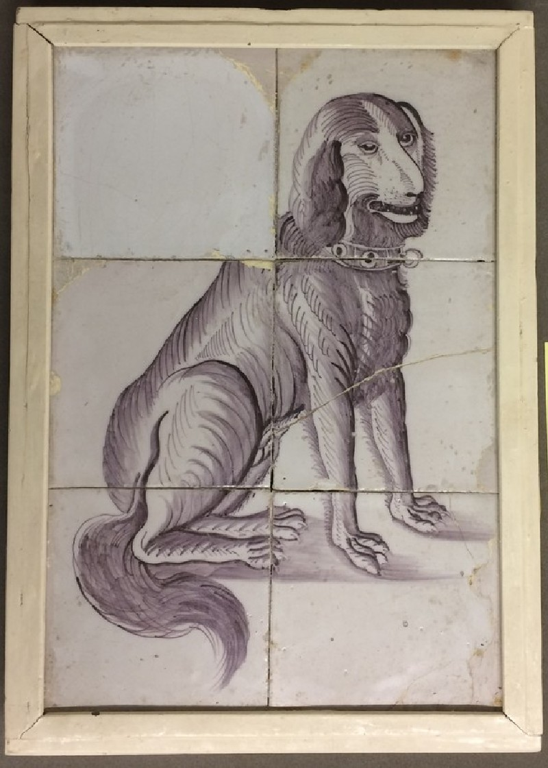 Six tiles in frame with dog sitting wearing collar