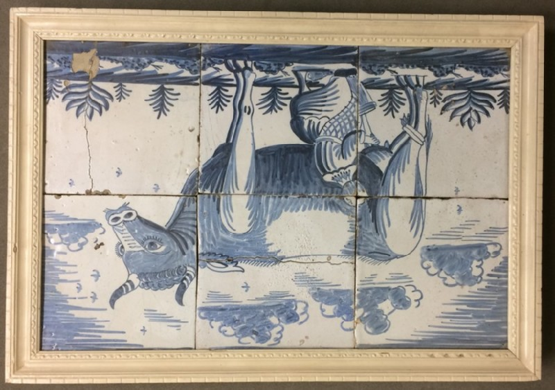 Six tiles in frame with woman sitting on stool milking a cow