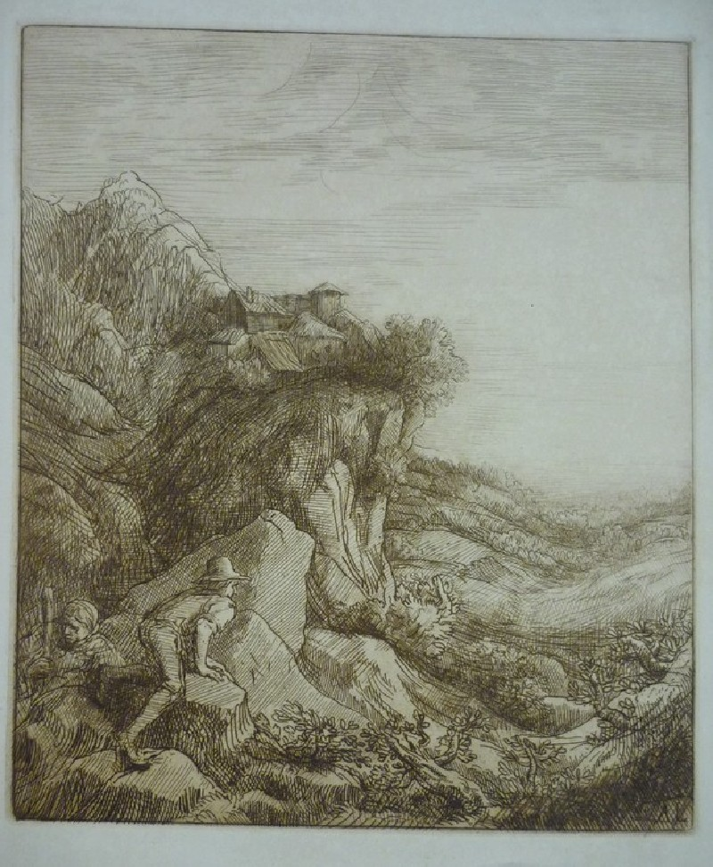 Two peasants in a mountainous landscape looking into a valley