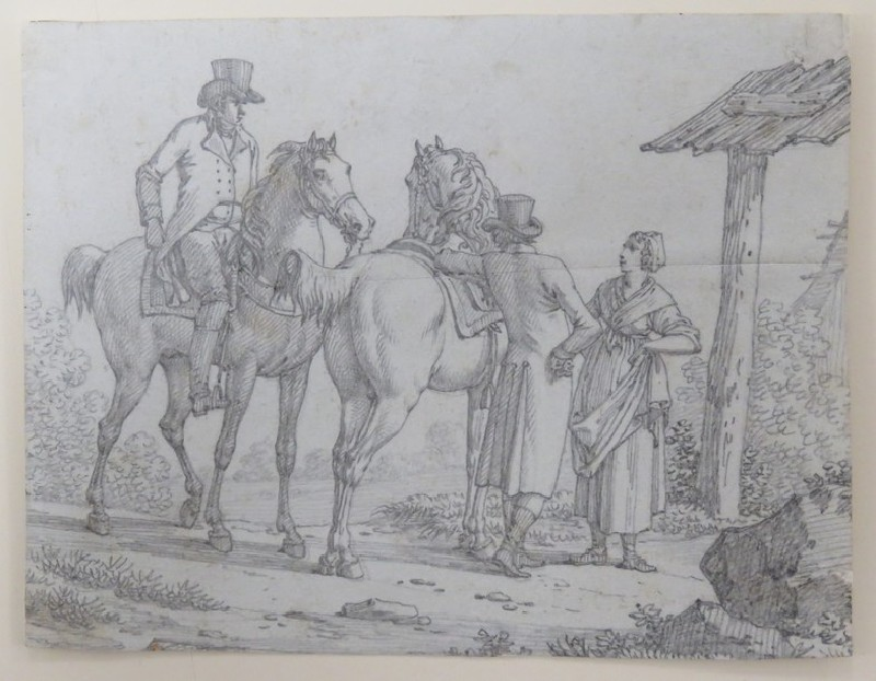 Two Gentlemen with Horses conversing with a Lady in a Country Setting (WA2002.199, record shot)