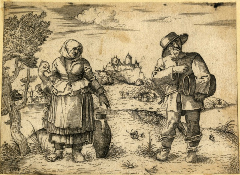 Couple of German or Dutch peasants standing in a nothern landscape (WA2003.Douce.173, record shot)