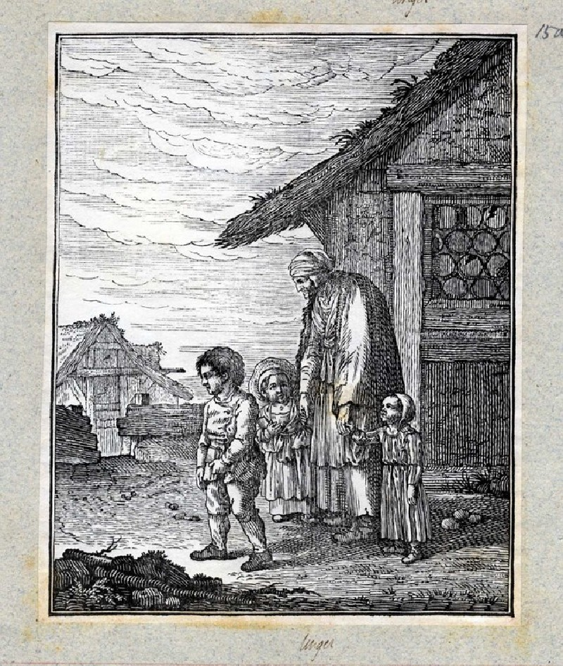 Three young children carrying books walk away from a cottage to left accompanied by an elderly woman dressed in ragged clothes, with fence and cottage in the background (WA2003.Douce.3684, record shot)