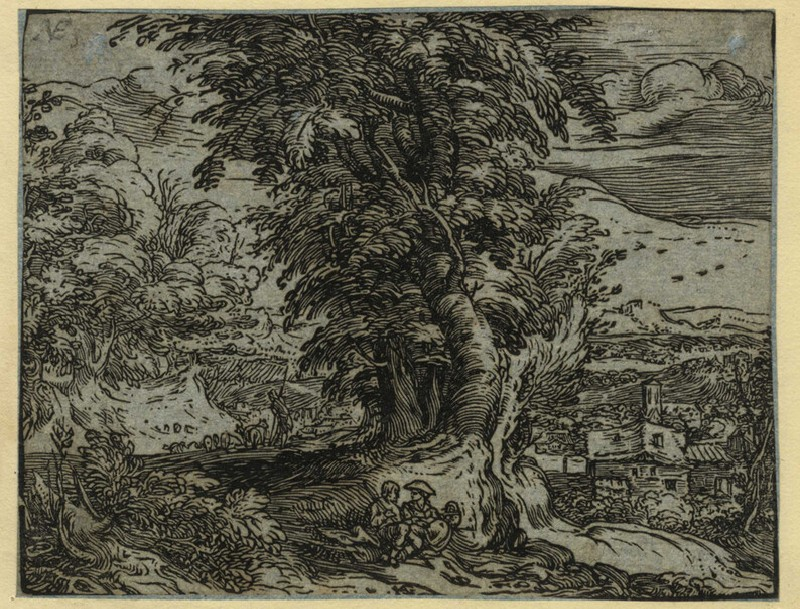 Landscape with trees and a shepherd couple (WA2003.Douce.374, record shot)