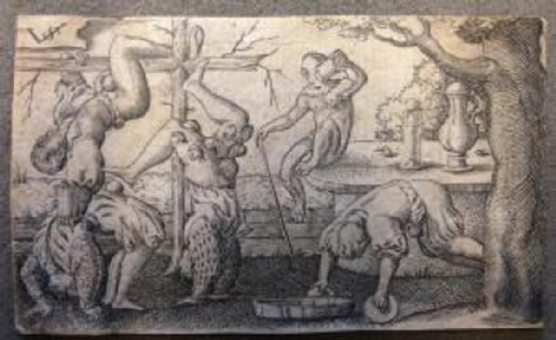 Four acrobats and a monkey (WA2003.Douce.576, WA_2003_Douce_576-a-r, record shot)