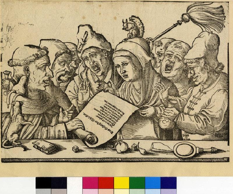 Recto: Monks and a nun singing