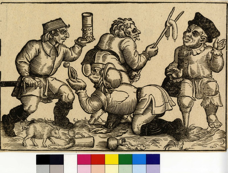 A man with a wooden leg being offered a sausage ny another one, a man licking another one's backside, a fourt man wusing a basket as hat (WA2003.Douce.5900, record shot)