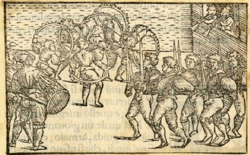 Dancers with wheels, swords and two beating drums (WA2003.Douce.601, record shot)