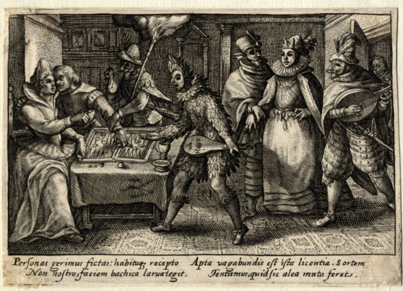 A man and a woman playing backgammon, others dressed up looking at them (WA2003.Douce.629, record shot)