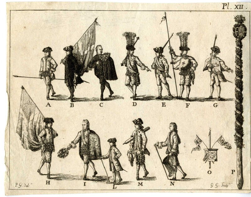 Sheet with uniforms and flags of a procession (WA2003.Douce.654, record shot)