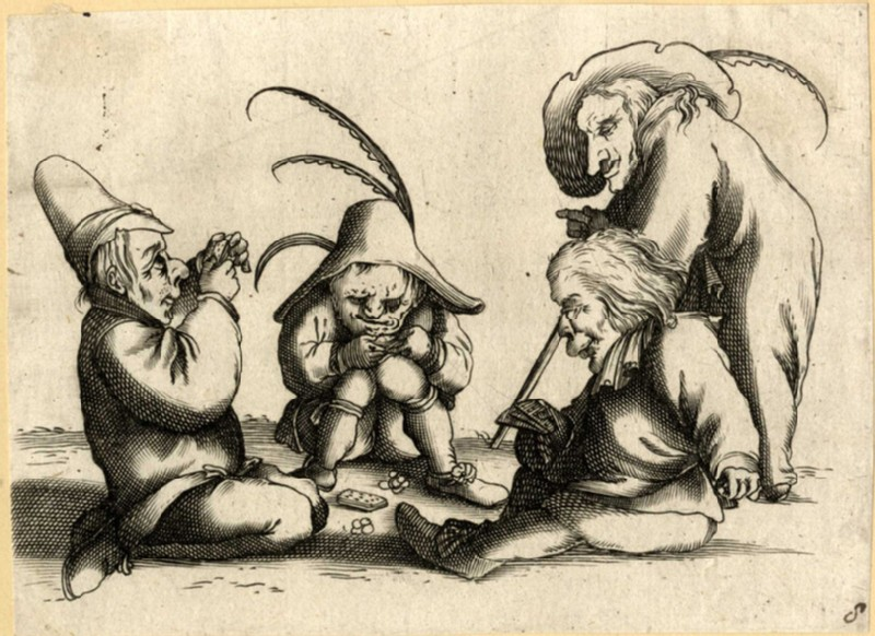 Four dwarves playing cards (WA2003.Douce.689, record shot)