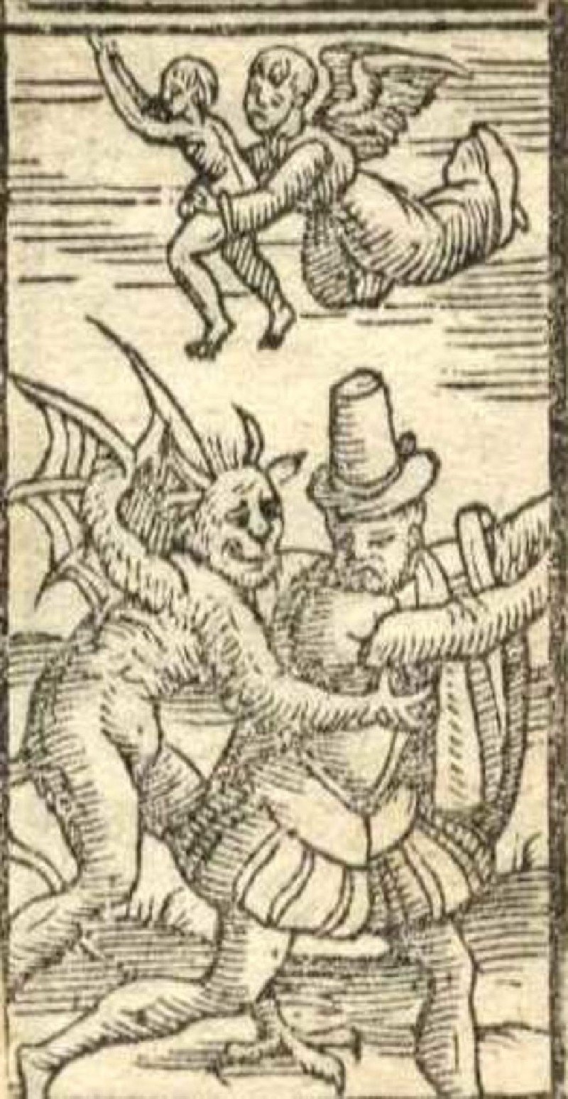 Recto: The Saved and the Damned <br />Verso: unidentified woodcut