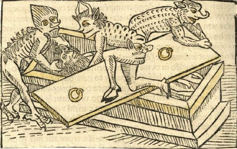 Demons at a Tomb (WA2003.Douce.5156, record shot)