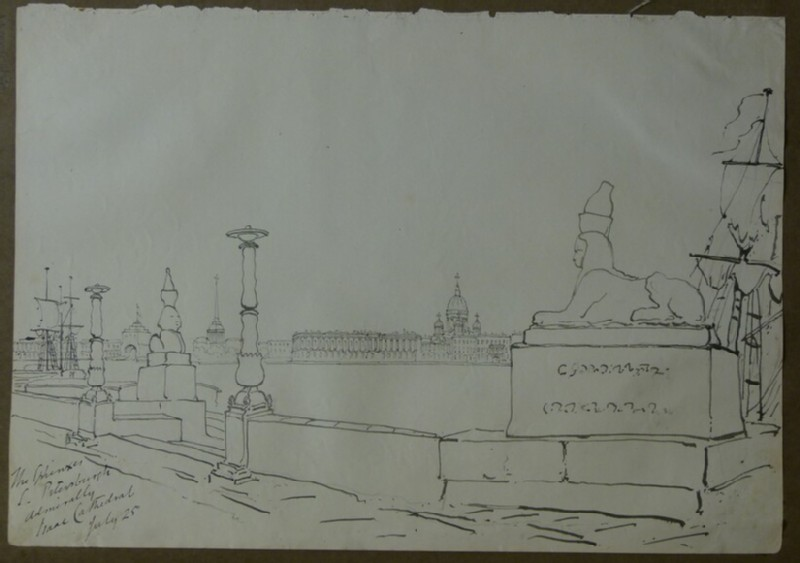 View of Isaac Cathedral and Sphinxes from Universitetskaya Embankment, St Petersburg (WA2004.111.31, record shot)