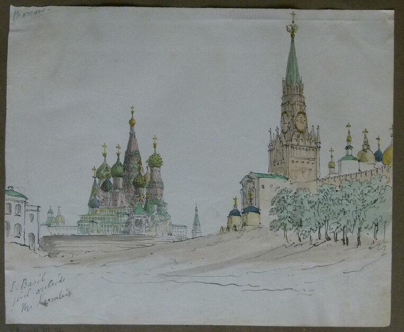 View of St Basil's and the Spasskaya Tower, Moscow (WA2004.111.35, record shot)