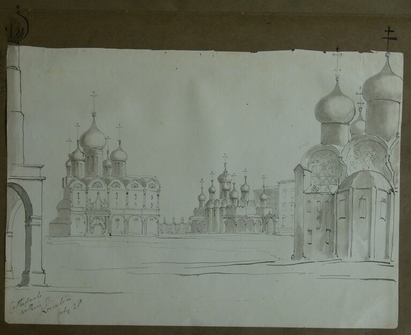 View of the Cathedral of the Archangel and the Kremlin continuing onto the album page (WA2004.111.44, record shot)