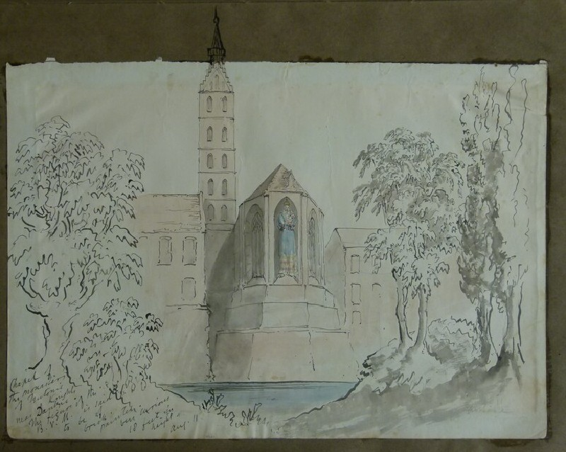 Recto:View of the Chapel and Tower at Malbork Castle, Poland, continuing onto album page <br />Verso: Architectural detail from Leipzig (WA2004.111.52, record shot)