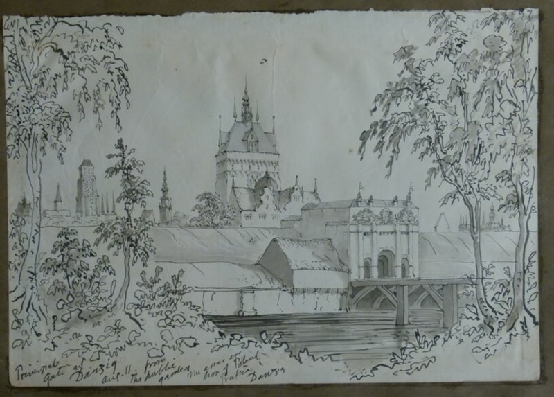 Recto: View of the Upland Gate and St Mary's Church, Gdansk (then Danzig) <br />Verso: View of the Courtyard of the Augustinian Monastery at Erfurt (WA2004.111.59, record shot)