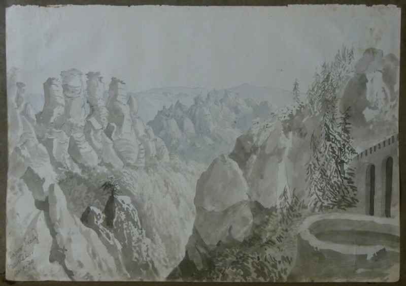 View of the Bastei Rock Formation and Bridge in Saxony Switzerland, Germany (WA2004.111.72, record shot)