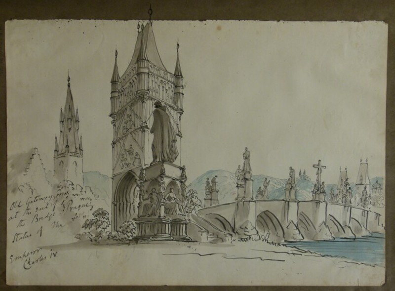 View of the Charles Bridge, Prague, continuing onto album page (WA2004.111.73, record shot)