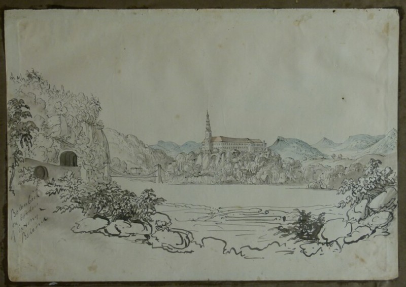 Recto: View of Tetschen Castle and Chain Bridge, Germany <br />Verso: Two views of Eisenbach, Germany (WA2004.111.75, record shot)