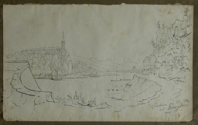 View of Tetschen Castle from Bodenbach on the Elbe (WA2004.111.82, record shot)