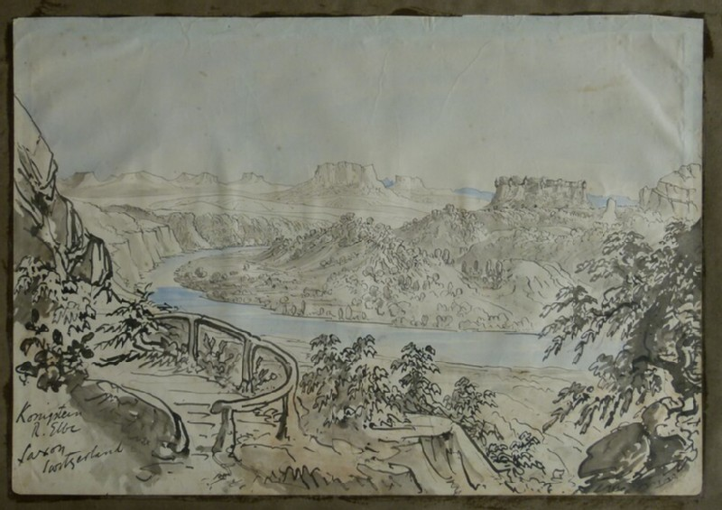 Recto: View of Konigstein Fortress and the River Elbe <br />Verso: Sketch of a historic building in Erfurt (WA2004.111.90, record shot)