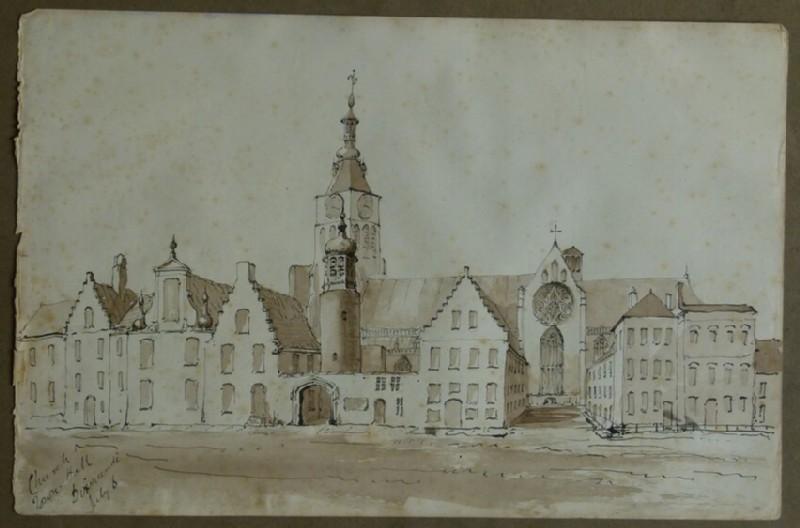 View of the Town Hall and St Nicholas Church, Diksmuide, Belgium (WA2004.111.92, record shot)