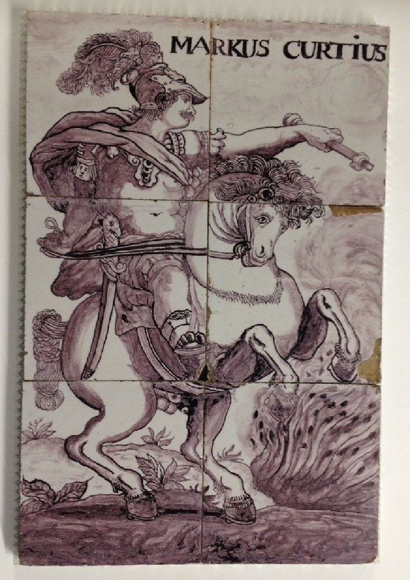 Tile panel with Roman soldier on horseback as Marcus Curtius